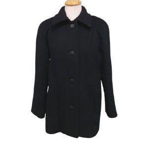London Fog Pure Wool Black Pea Coat- Sz. 6P
